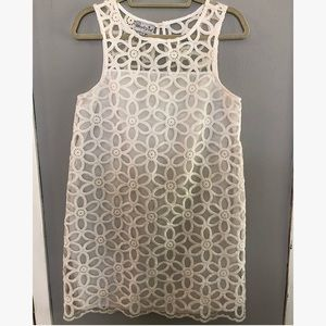 Mudpie white flower lace shift dress